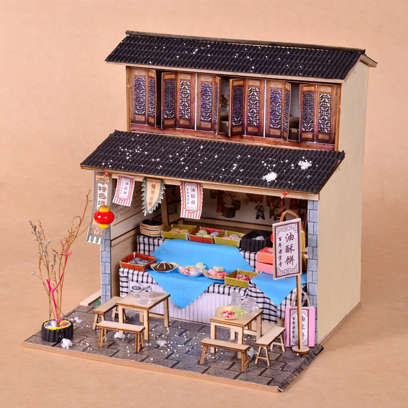 Japanese style DIY cabin wooden hand-assembled attic model mini DIY house material creative birthday giftJapanese style DIY cabin wooden hand-assembled attic model mini DIY house material creative birthday gift
