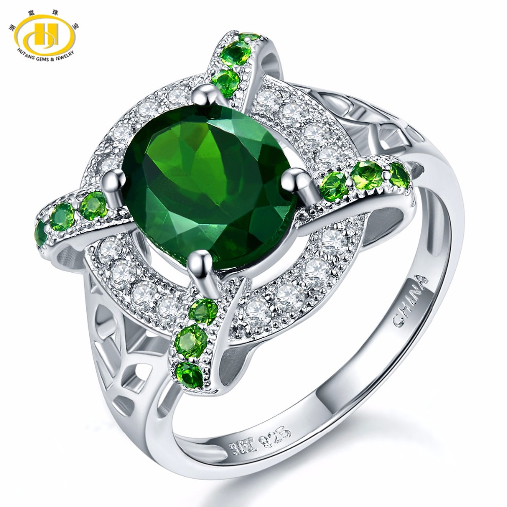 Hutang Solid 925 Sterling Silver 2.77ct Natural Chrome Diopside & White Topaz Ring Women's Gemstone Fine Jewelry 2017 New цена и фото