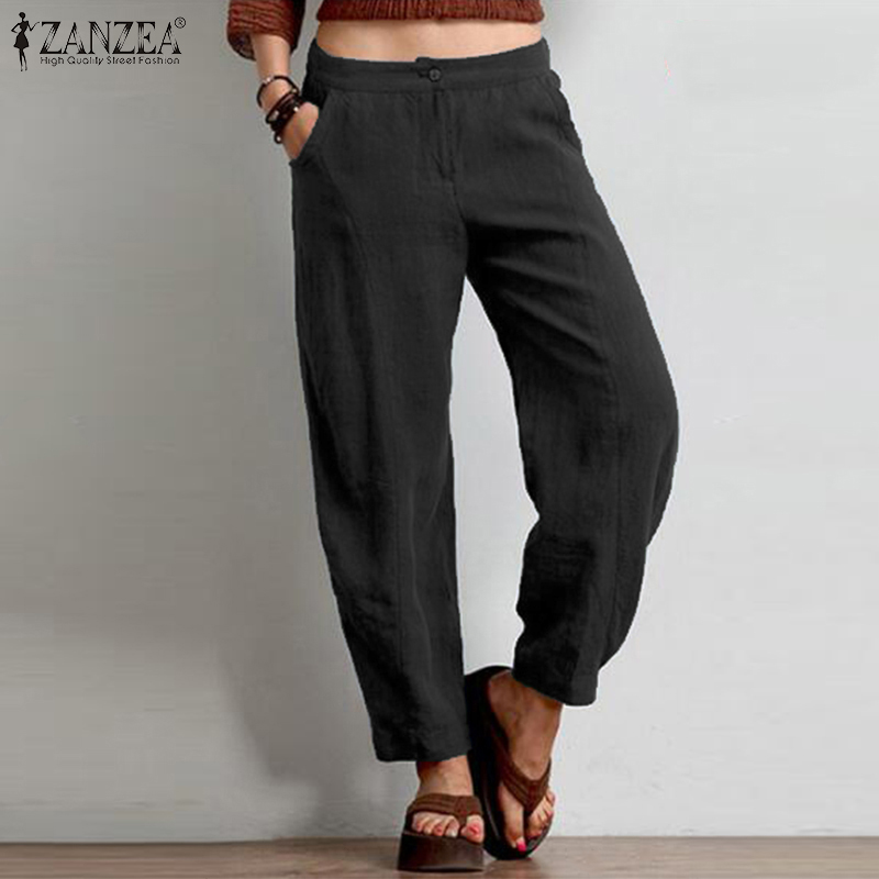 ZANZEA Women Casual Straight Trousers Loose Harem   Pants   Autumn Pockets Pantalon Streetwear Solid Cotton Linen   Wide     Leg     Pants