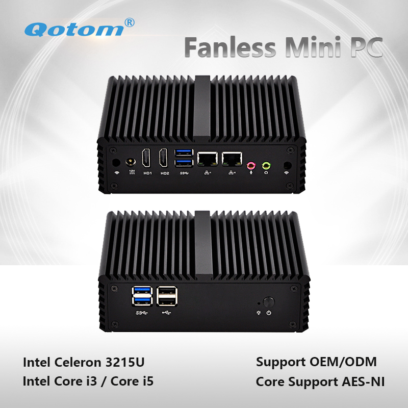цена Qotom-Q400S-S08 Industrial Qotom Mini PC with WiFi Dual Core 2 Ethernet NIC LAN Celeron Core i3/i5 Processor Thin Client