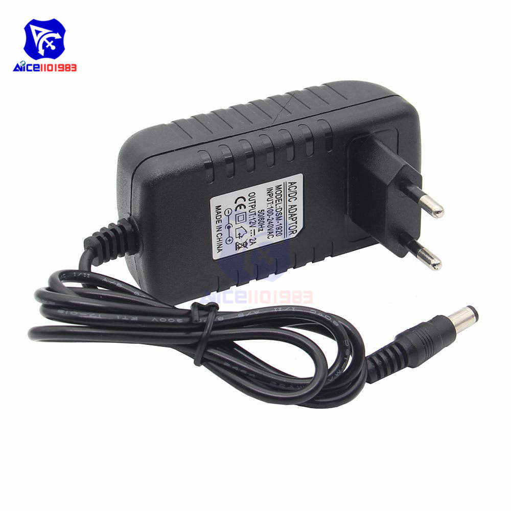 AC 100-240 V 0.5A do DC 12 V 2A/1.8A US/ue wtyczka zasilania DC Jack 5.5*2.1mm mężczyzna Adapter do taśmy LED Router CCTV 5.5x2.1mm