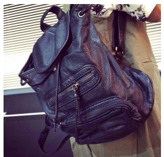 fashion Classic Vintage water-washed leather backpack Leather Shoulder  Straps Draw string backpack 1d49ef96c4ea0