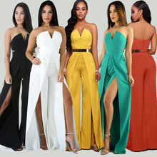 New arrival Strapless deep v-neck jumpsuits solid sexy split boot cut pantskirt outfit multi colors robe for lady maxi vestido deep cut fork boot set slide cow bells