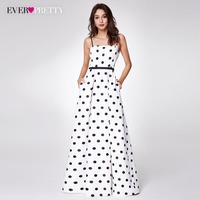 2018 New Arrival Polka Dot Printed Prom Dresses Ever Pretty EP07214 Long Spaghetti Strap A Line