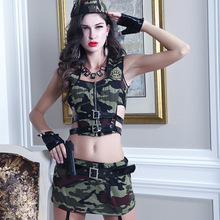 цена на 7Pcs Sex Cosplay Role-playing Fun Police Underwear Uniforms Camouflage Suit Sexy Perspective Camouflage Army Costumes