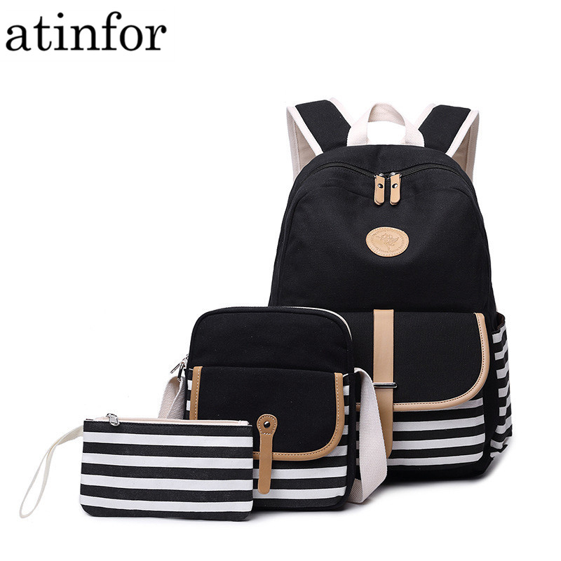 3pcs/set Canvas Fringe Women Backpack Student Book Bag with Purse Laptop College Bagpack Female School Bag for Teenager Girls image