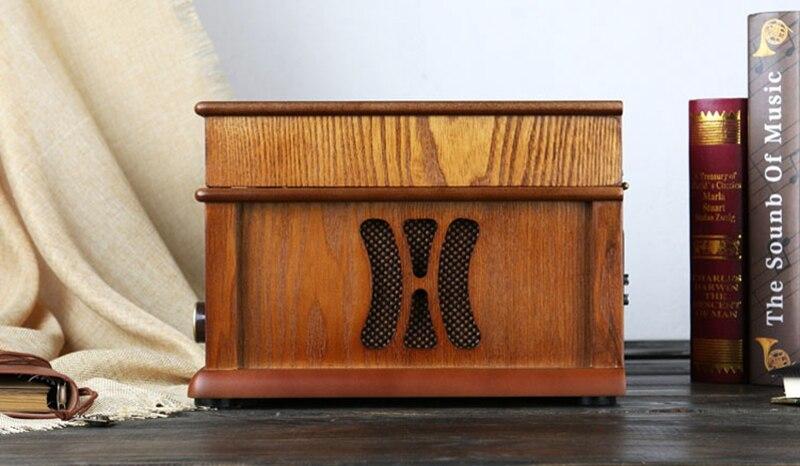 Классический винтажный граммофон, Виниловая пластинка, винтажный CD плеер, Ретро FM радио, Bluetooth, динамик 7 1, функция 220 В - 4