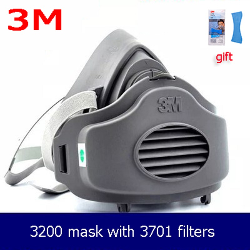 3M 3200 Half Face Mask 10pcs3701 Filters N95 Gas Respirator Dust-proof PM2.5 Cotton For Spray Paint Working Mask
