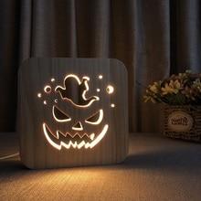 Deorative Wooden 3D Night Light Pumpkin Decor Nightlight XMAS Hallowsmas Celebrate Holiday Table Desk LED Gift IY801101