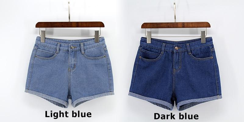 Blue Crimping Denim Jeans Shorts For Women 33