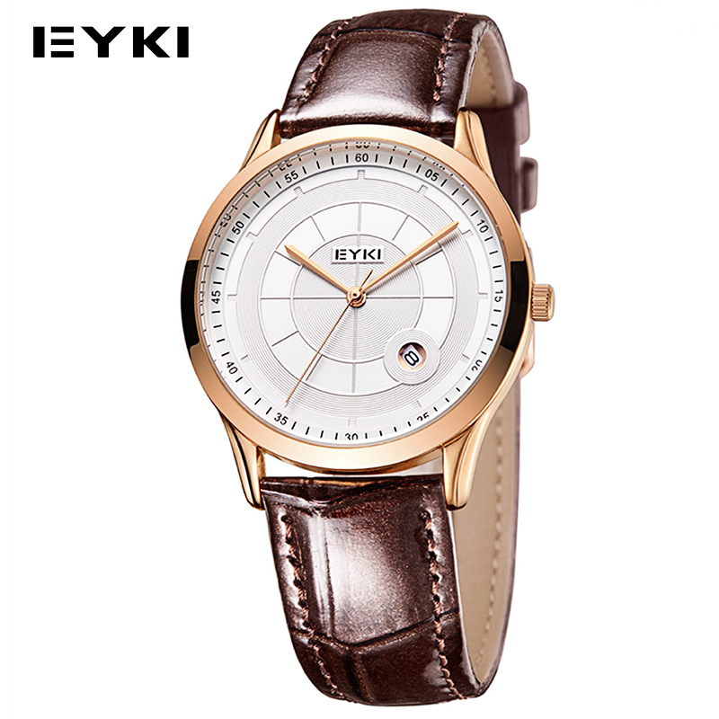 Brand Water Resistant EYKI Watch Quartz Genuine Leather Strap Date Display Hardlex Window Relogio Masculino Simple Analog Clock casual leather band mens watch fashion business analog display quartz wristwatches montre homme water resistant luminous clock