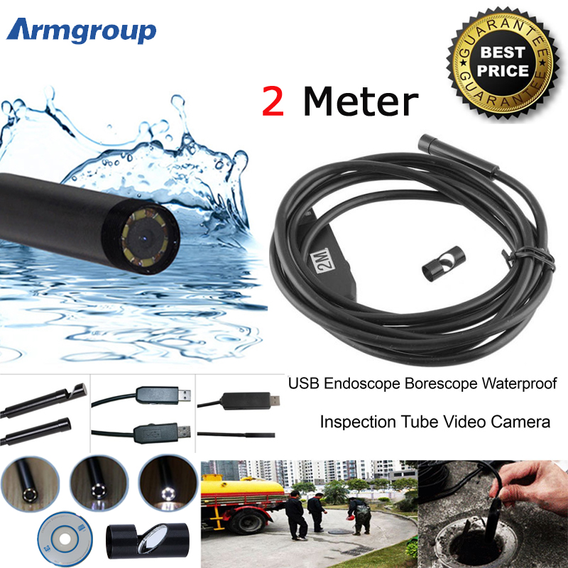 USB Endoscope Camera 2M Lens Snake Tube Camera Mini USB Borescope Inspection Camera for PC Waterproof Endoscopio Camera 8mm 2in1 micro usb endoscope camera 2m lens android phone endoscope mini camera inspection borescope tube snake mini camera