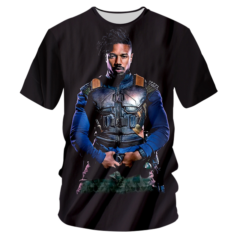 Black Panther Tshirts Men 2018 Summer Cool Printed Erik Killmonger 3d T-shirt HEY AUNTIE Casual Tees Short Sleeve Unisex