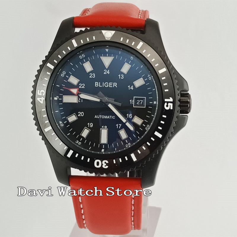 Bliger 44mm Red Leather Band Black Dial Black/Blue Bezel PVD Case Automatic Date Mens Watch 2607