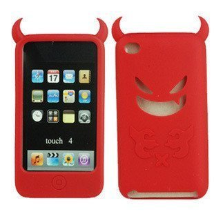 20pcs/lot free shipping Wholesale angel and  Devil Silicon Case for iPod Touch 4 4th 4G