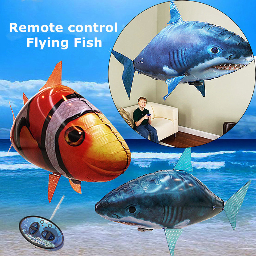1PCS Remote Control Flying Air Shark Toy Clown Fish Balloons Inflatable Helium Fish Plane RC Helicopter Robot Gift For Kids