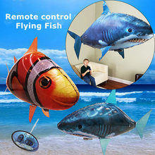1PCS Remote Control Flying Air Shark Toy Clown Fish Balloons Inflatable Helium Fish plane RC Helicopter Robot Gift For Kids(China)