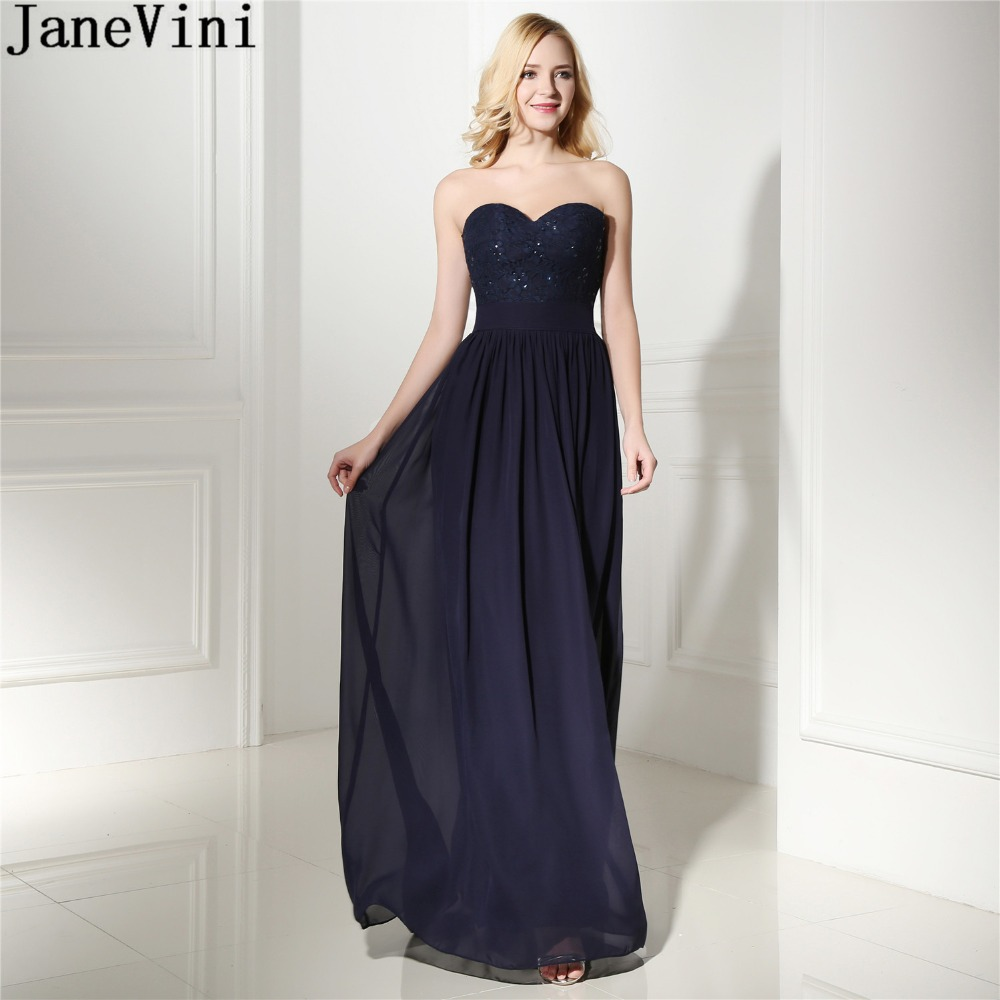 JaneVini Navy Blue Long   Bridesmaid     Dresses   Lace Chiffon Beaded Women Formal   Dress   For Wedding Party Sweetheart Sleeveless Gowns
