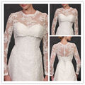 White/Ivory Bridal Jackets Lace Long Sleeve Bolero/Wrap/Shrug For Wedding Prom Formal Gown