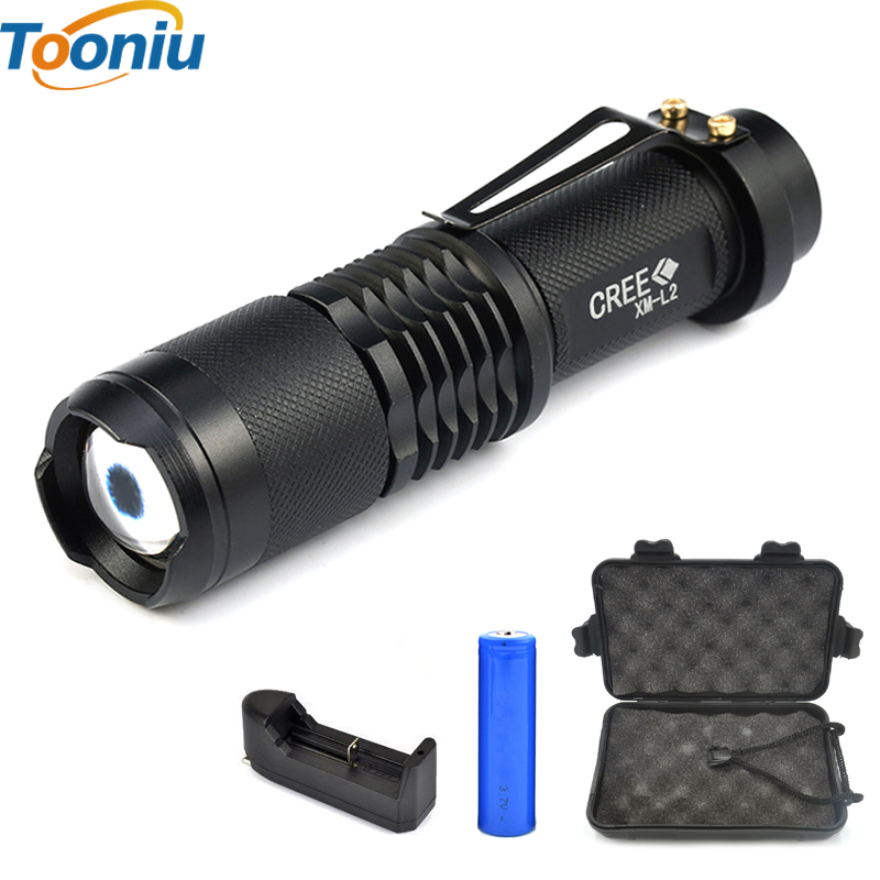 high power L2 2500lm flashlight Mini XML- T6 zoomable torch powered by 18650 lithium battery for Riding camping hunting