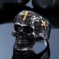 Beier punk jewelry wholesale titanium golden cross carved skull ring ring men's personality