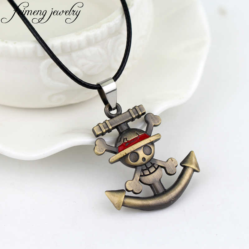 feimeng jewelry Japanese Anime One Piece Necklace Pirate Luffy Anchor Skull Logo Pendant Necklace Fashion Cosplay Accessories