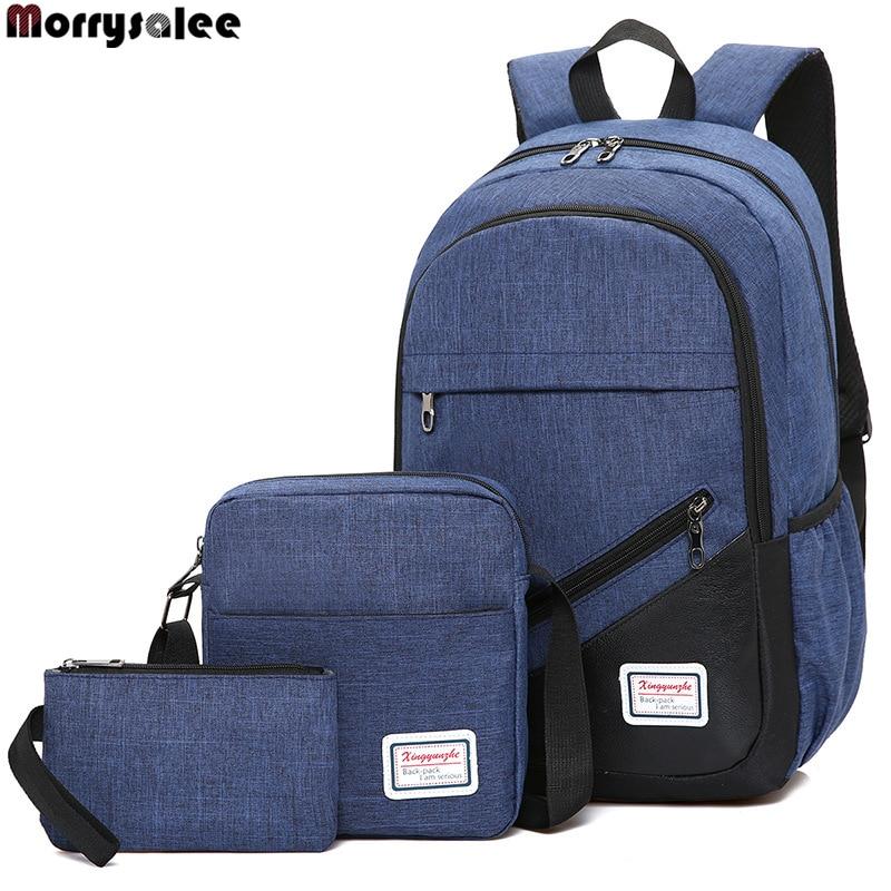 Neue Nylon Rucksack 3 Teile/satz Frauen Schule Rucksäcke Schul Männer Schulter Tasche Sets Taschen Herrentaschen