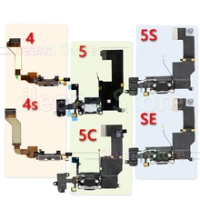 Original Charging Flex For iPhone 5 5C 5S SE USB Charger Board Port Dock Connector With Mic Flex Cable For iPhone 4 4s