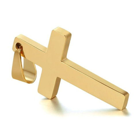 New Cross Necklaces & Pendants For Men Stainless Steel Gold Colour Male Pendant Necklaces Prayer Jewelry Friend Gift Karachi