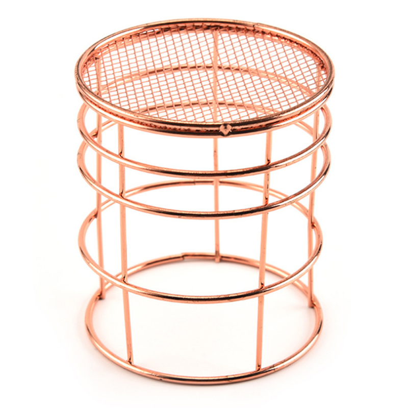 1PCS European rose gold metal pen holder  stationery office study table supplies wrought iron storage basket