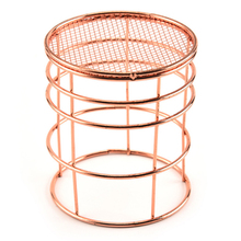 1PCS European rose gold metal pen holder  stationery office study table supplies wrought iron storage basket
