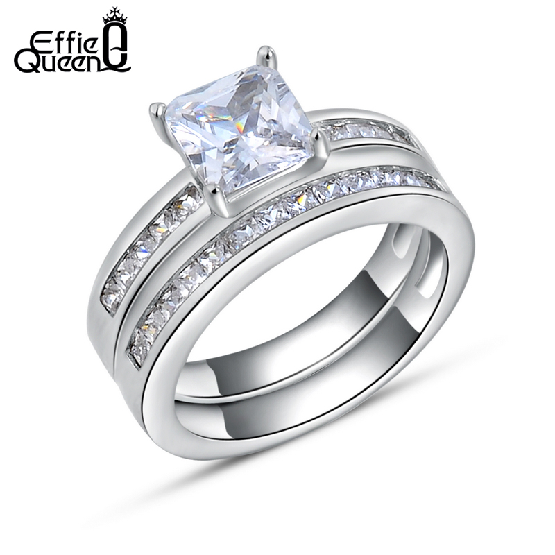 Effie Queen Woman Finger Ring with 0.8 ct Princess Cut Cubic Zirconia Women Wedding Ring Set, 2 Piece/Set Wedding Bands DR28