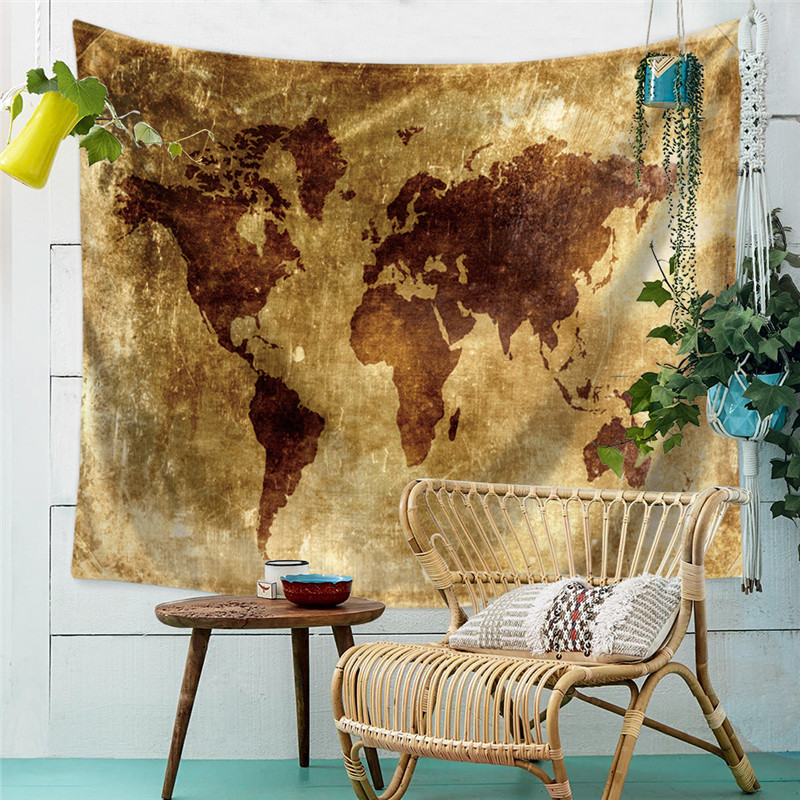 World Map Printed Tapestry Wall Hanging Carpet Polyester Tapestry Home Decorative Mandala Polyester Blanket Bed Sheets Yoga Mats