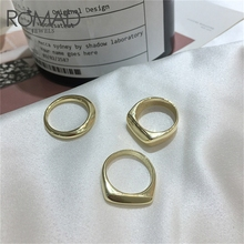 ROMAD Round Vintage Ring Luxury Gold Color Rings for women Geometric Personality Exaggerated Finger Trendy Wedding R5
