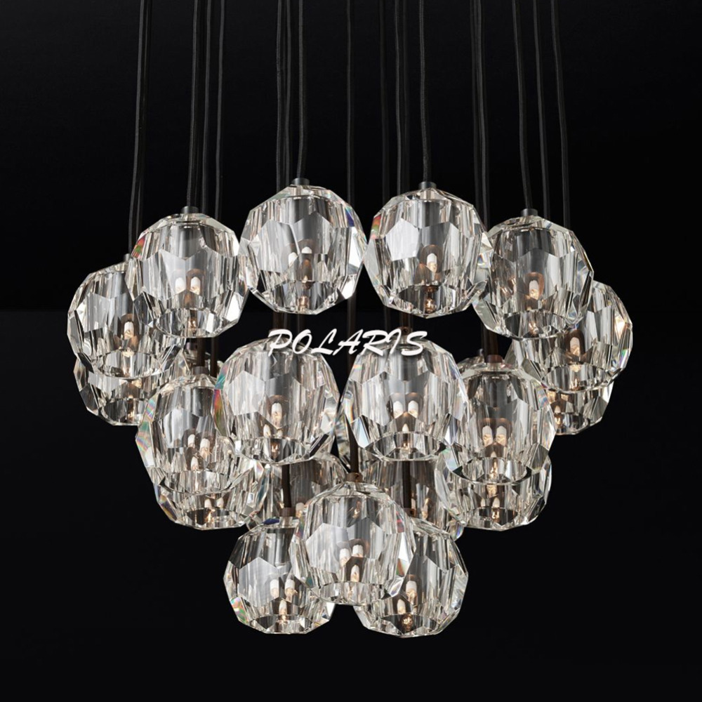 Modern LED Crystal Chandelier Lighting Flush Mount Chandeliers Light Fixture Living Dining Room Bedroom Lighting