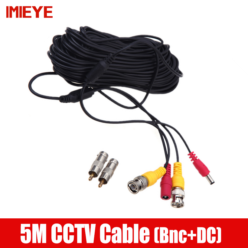 IMIEYE 5 Meter 65ft BNC Video Power DC Plug Extend Cable for Surveillance CCTV Camera Accessory 5meters Length Power Video cable solder type bnc plug for surveillance camera cable