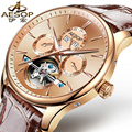 AESOP 9022 Switzerland watches men luxury brand skeleton Perpetual calendar automatic mechanical Tourbillon rosegold Leather