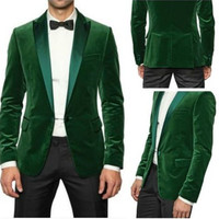 Fashionable men's suits Wedding custom green men jacket velvet 2017 latest coat pant designs best man suit the groom party wear