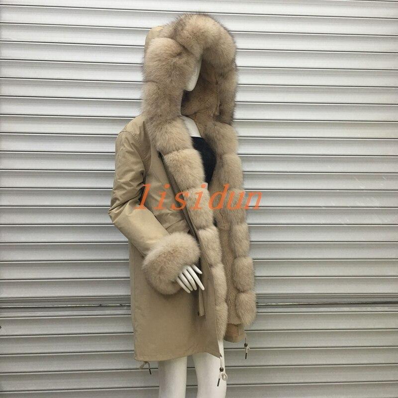 2018 abrigo de piel de zorro parkas invierno chaqueta mujeres parka grande de la piel del mapache Real natural fox fur liner largo prendas de vestir exteriores