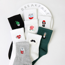 Women Socks Harajuku Korea Japanese Funny Cartoon Black White Short Sock Milk Box Beard Rose Heart Embroidery Cotton Ankle Socks