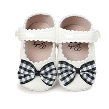 Butterfly-kont PU Princess Shoes Plaid Bow Cotton Soft Sole First Walkers Summer Infant Baby Girl Wholesale
