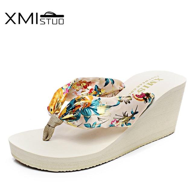 be83bdf532e XMISTUO Women Silk Flip Flops Female Summer Beach Wedges Satin Slippers  Water-resistant 7CM High-heeled Slippers 6 Color XMC030