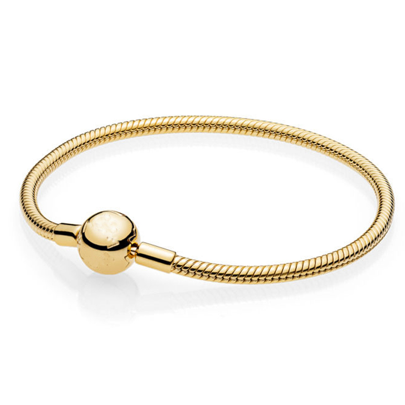 925 Sterling Silver Bracelet Gold Color Moments Smooth Ball Clasp Snake Chain Bracelet Bangle Fit Bead Charm DIY Pandora Jewelry