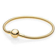 925 Sterling Silver Bracelet Gold Color Moments Smooth Ball Clasp Snake Chain Bracelet Bangle Fit Bead Charm Diy Fine Jewelry(China)