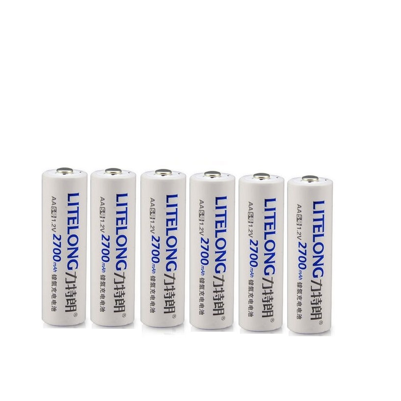 6PCS 1.2v 2700mah NiMH rechargeable batteries digital camera remote control toy car AA battery+2PCS Battery box
