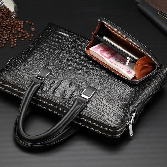 Brand Briefcase Men Handbag PU Leather Men's Business Bags Large Capacity Shoulder Bag Crocodile Crossbody Bags Male Laptop Bag