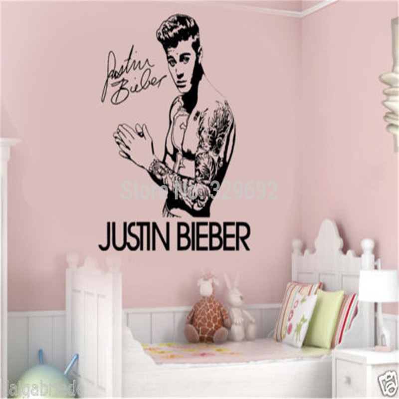 Justin Beiber Topless 3D Smashed Wall Break Out Sticker Bedroom Wall Art Decals