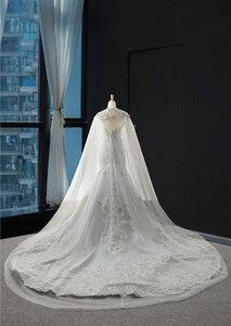 Image 4 - J66594 jancember luksusowa suknia ślubna syrenka szal przędzy frezowanie cekinami ruffles suknie ślubne dla panny młodej vestido de noiva 2