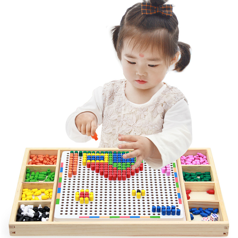 Wooden 3D Puzzles Toys for Children Creative Mosaic Mushroom Nail Kit Buttons Art Assembling Kids Enlightenment
