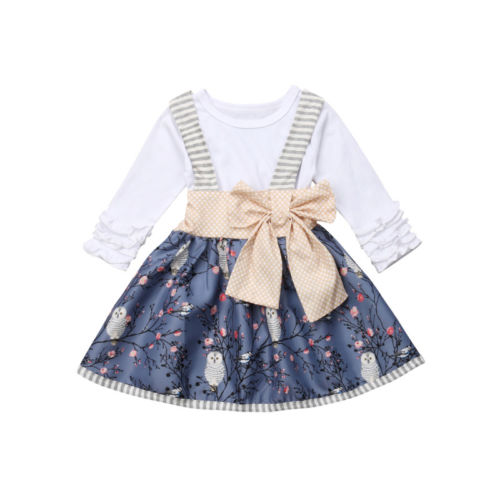 31c77da6244 Cute Baby Girl Ruffled Long Sleeve Tops T-shirt Butterfly Knot Owl Suspender  Dress Wedding Party Princess Dress